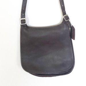 Vintage Coach Brown Leather Flap Saddlebag Purse